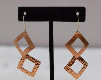 Earrings Plated Copper Textured Triangle Dangle Earrings 60mm