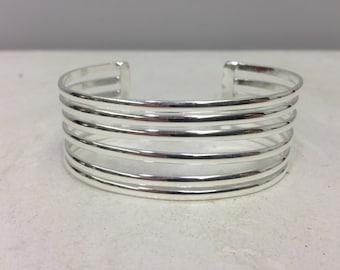 Bracelet Cuff Six Band Silver Plated Bracelet