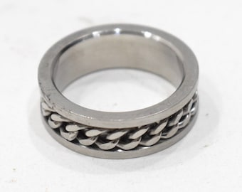 Ring Stainless Steel Etched Silver Chain Band Ring
