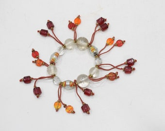 Bracelets Beaded Stretch Red and Clear Glass