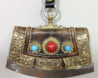 Case Tibet Flint Leather Coral Turquoise Case
