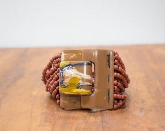 Bracelet Beaded Terracotta Hand Painted Buckle Clasp Bracelet