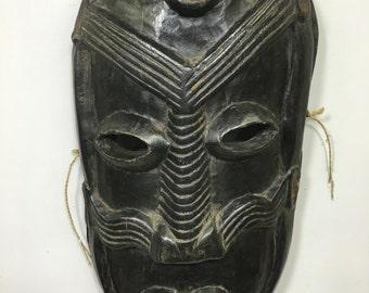 "Papua New Guinea Mask Ramu River Secret Cult Black Wood Men Mask 19"""
