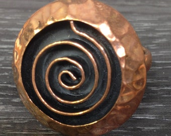 Copper Round Swirl Ring Handmade Handcrafted Statement Ring Unique Adjustable Chic Modern Design
