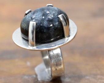Ring Sterling Silver Black Oval Obsidian Stone Ring