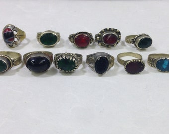 Ring Middle Eastern Silver Green Glass Oval Handmade Handcrafted Red Blue Green Silver Statement Fun Unique Tribal Rings Tribal