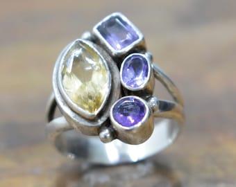 Ring Sterling Silver Citrine  Amethyst Ring