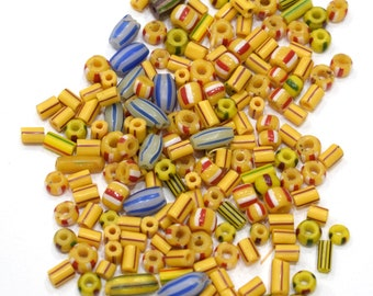 Beads African Assorted Stripped Chevron Glass 5-13mm
