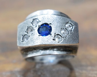 Ring Plated Silver Crystal Blue Band Ring