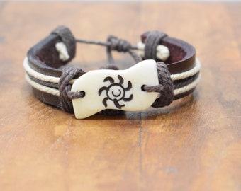 Bracelet Brown Leather Beige Hemp Etched Bone Tie Bracelet