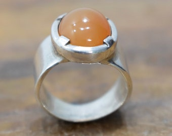 Ring Sterling Silver Carnelain Band Ring