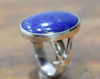 Ring Sterling Silver Oval Lapis Stone Silver Ring
