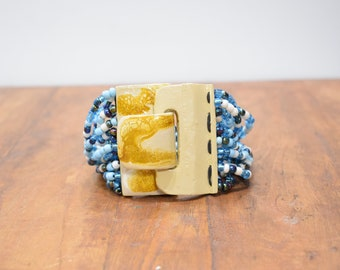 Bracelet Blue Beaded Hand Painted Buckle Clasp Bracelet