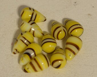 Beads Wedding Glass Yellow Stripped Teardrop Beads 14mm