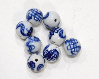 Beads Chinese Blue White Round Beads 12-13mm