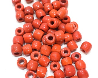 Beads India Red Orange Glass Beads 8-10mm
