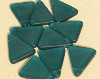 Beads Wedding Glass Blue Teal Triangle 26mm