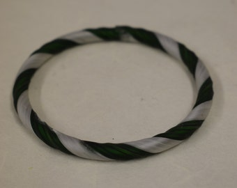 Bracelet Green White Ribbon Frosted Hand Blown Glass Design Bangle Bracelet