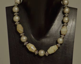 Necklace African Agate Beads with Old Silver Beads Handmade Agate Brushed Round Silver Fluted Silver Beaded Necklace