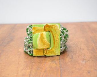 Bracelet Green Beaded Hand Painted Buckle Clasp Bracelet