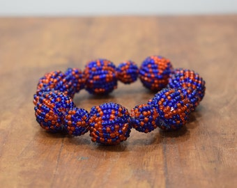 Bracelet Beaded Red Blue Bead Elastic Bracelet