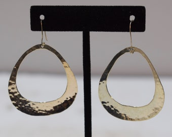 Earrings Sterling Silver Oval Hammered Hoop Dangle Earrings 60mm