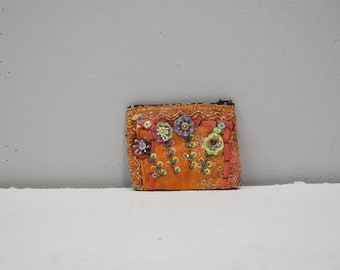 Coin Purses Orange Assorted Sequined Flower Purse