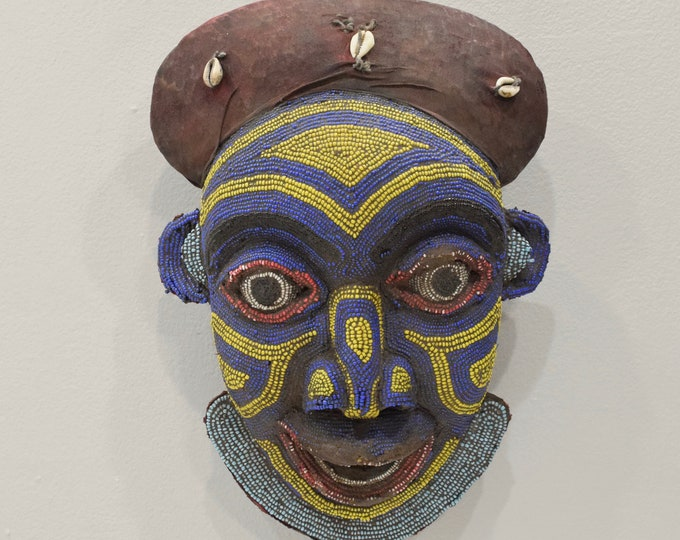 """Featured listing image: Mask African Bamum Beaded Face Mask Cameroon 14.5"""""""