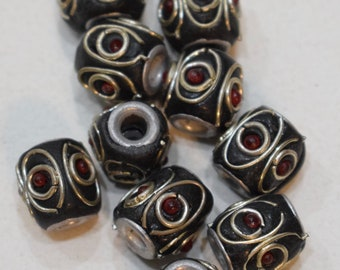 Beads India Silver Inlaid Black Red Glass Barrel Beads 12mm