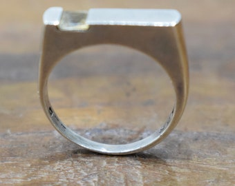Ring Sterling Silver Square Citrine Stackable Ring