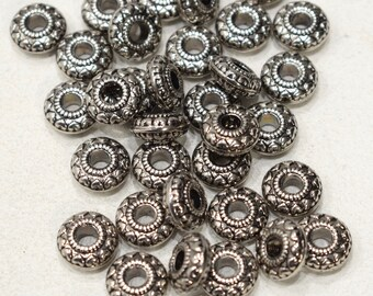 Beads Silver Etched Round Beads 14mm
