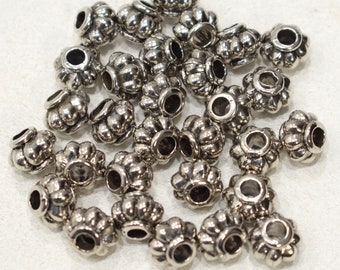 Beads Silver Fluted Round Beads 9mm