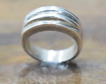 Ring Sterling Silver Ridged Band Ring