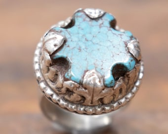 Ring Turquoise Silver Tibetan Round Adjustable Ring