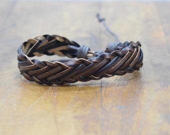 Bracelet Leather Black Brown Flat Woven Tie Bracelet