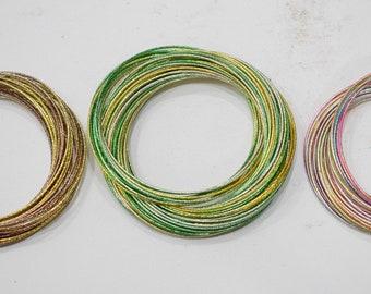 Bracelets Assorted Gold Green Gold and Rainbow Glitter Bangle Bracelets