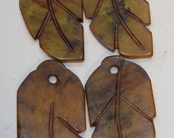 Beads Chinese Serpentine Brown Leaf Pendants 53mm