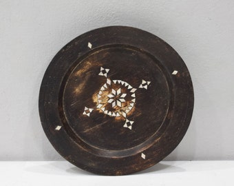 Plates Indonesian Old Teakwood Mother of Pearl Inlay Plate