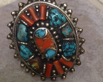 Ring Tibetan Silver Coral Turquoise Ring