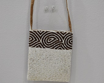 Purse Beaded Brown White Shoulder Bag