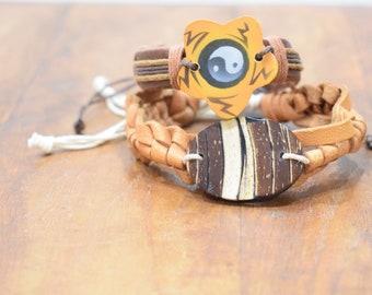 Bracelet 2 Assorted Woven Leather Tie Bracelets