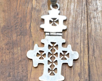 Cross Ethiopian Silver HInged Coptic Cross Pendant