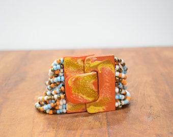 Bracelet Beaded Orange Blue Hand Painted Buckle Clasp Bracelet