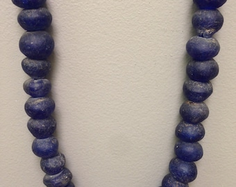 Beads African Recycled Blue Glass 20mm
