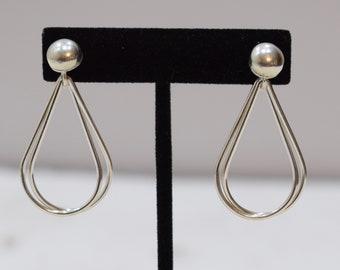 Earrings Sterling Silver Double Oval Hoop Post Earrings 45mm