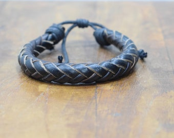 Bracele Black Leather Woven Round Tie Bracelet