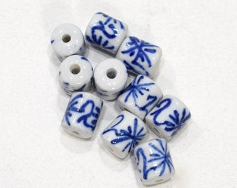 Beads Chinese Blue White Porcelain Beads 11-12mm