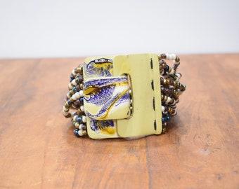 Bracelet Multi Beaded Hand Painted Buckle Clasp Bracelet
