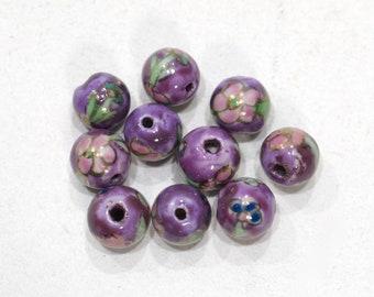 Beads Chinese Lavender Flower Porcelain 10-11mm