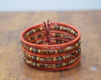 Bracelet Beaded Red Tiger Eye Wire Cuff Bracelet